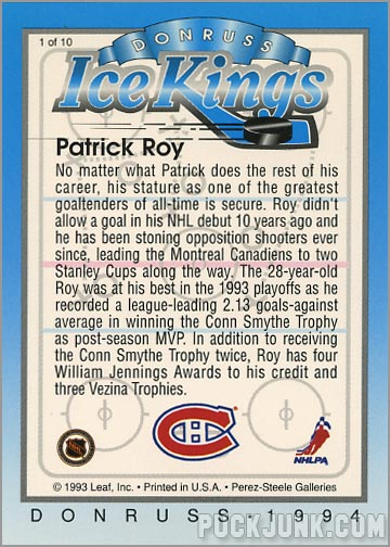 1993-94 Donruss Ice Kings Patrick Roy (back)