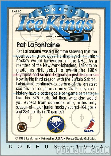 1993-94 Donruss Ice Pat Lafontaine (back)
