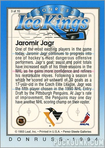1993-94 Donruss Ice Jaromir Jagr (back)