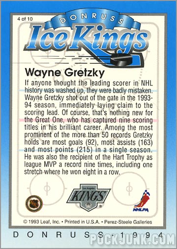 1993-94 Donruss Ice Wayne Gretzky (back)