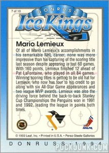 1993-94 Donruss Ice Kings Mario Lemieux (back)