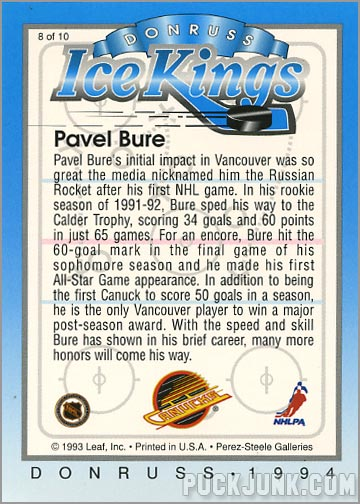 1993-94 Donruss Ice Kings Pavel Bure (back)