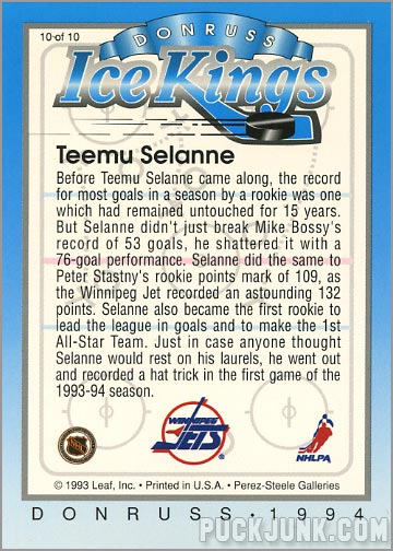 1993-94 Donruss Ice Kings Teemu Selanne (back)