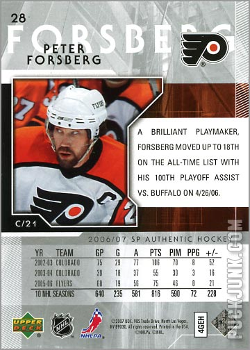2006-07 SP Authentic #28 - Peter Forsberg (back)