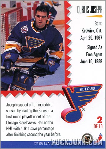 1992-93 Leaf Painted Warriors Curtsi Joseph (back)