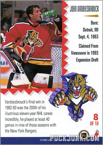 1992-93 Leaf Painted Warriors John Vanbeisbrouck (back)