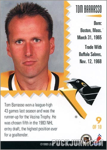 1992-93 Leaf Painted Warriors Tom Barrasso (back)