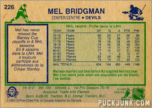 Mel Bridgman Hockey Card
