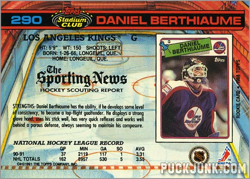Daniel Berthiaume Hockey Card