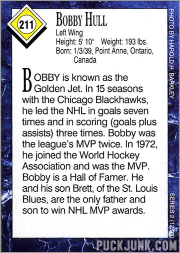 Sports Illustrated for Kids - Bobby Hull Card