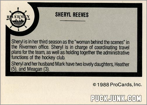 1988-89 ProCards card - Sheryl Reeves