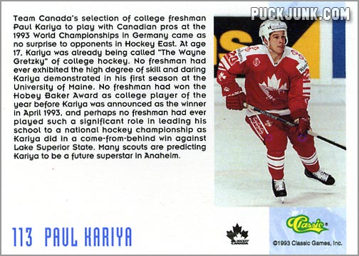 1993-94 Classic Draft Picks card #113 - Paul Kariya