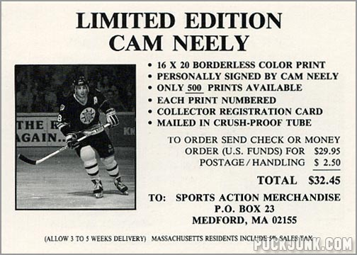 1990-91 Boston Bruins Special Offer card