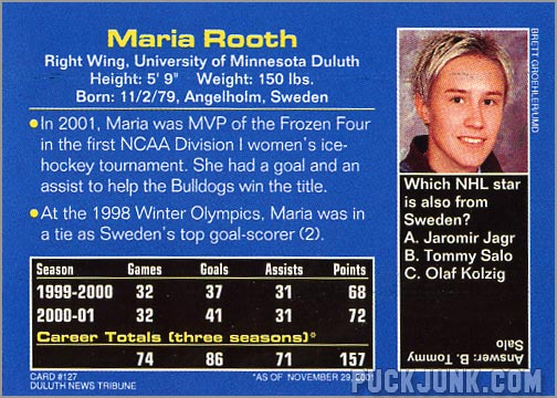 2002 Sports Illustrated for Kids card #127 - Maria Rooth