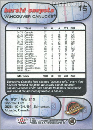 2002-03 Fleer Throwbacks #15 - Harold Snepts (back)