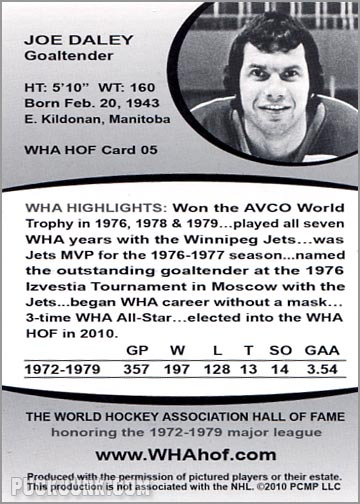 2010 WHA Hall of Fame #5 - Joe Daley (back)