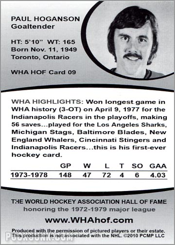2010 WHA Hall of Fame #9 - Paul Hoganson (back)