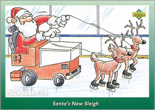 1992 Upper Deck Christmas card #1 of 10 - Santa's New Sleigh