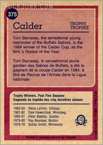 1984-85 OPC #375 - Tom Barrasso (Calder Trophy Winner - back)
