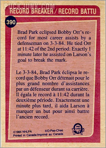 1984-85 OPC #390 - Record Breaker (Brad Park - back)
