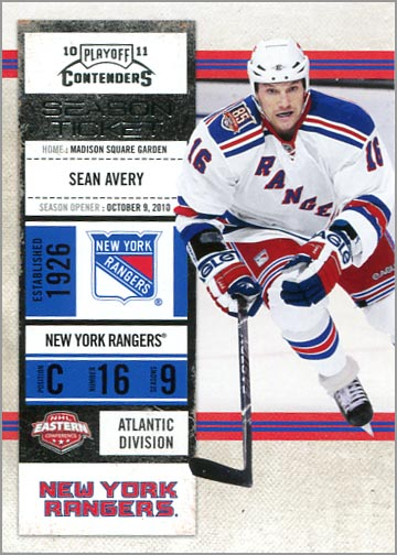 2010-11 Panini Playoff Contenders card #13 - Sean Avery