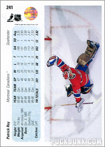 1990-91 Upper Deck Patrick Roy promo card back