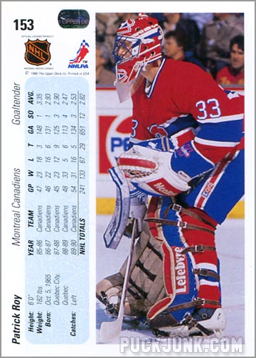 1990-91 Upper Deck Patrick Roy regular card back