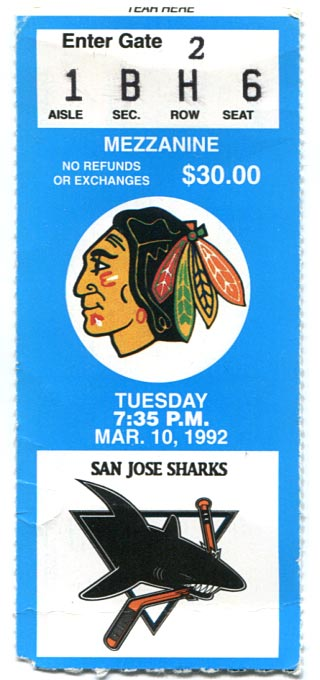 March 10, 1992 Blackhawks Ticket Stub