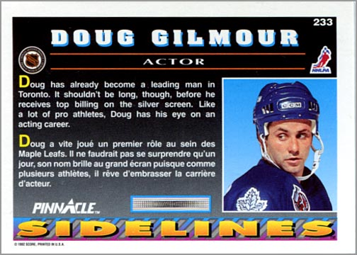 1992-93 Pinnacle #233 - Doug Gilmour / Sidelines (back)