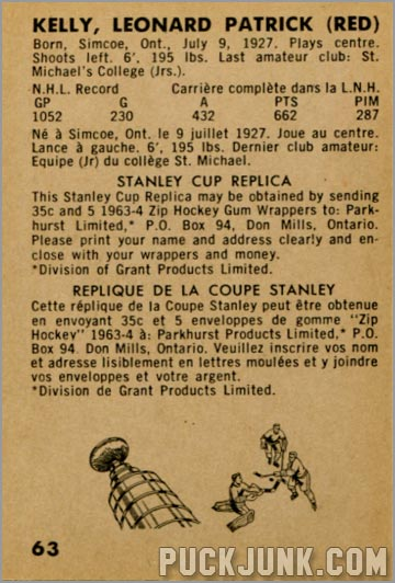 1963-64 Parkhurst #63 - Red Kelly (back)