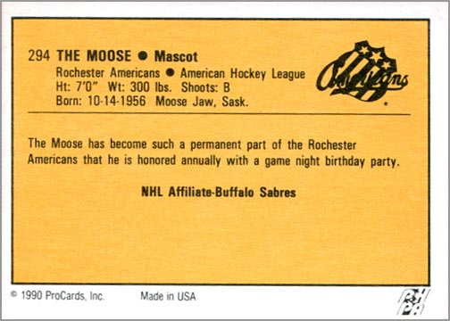 1990-91 ProCards AHL/IHL #294 – The Moose (back)