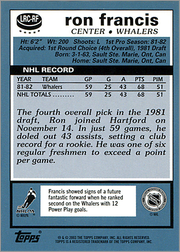 2003-04 Topps Lost Rookies #LRC-RF - Ron Francis (back)