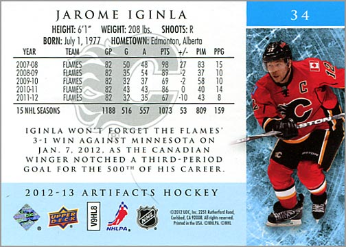 2012-13 Artifacts card #34 - Jarome Iginla (back)