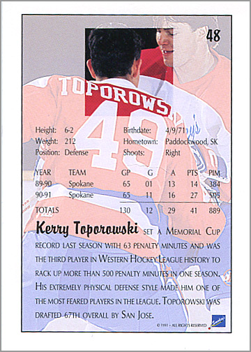 1991-92 Ultimate Draft Picks #48 - Kerry Toporowski (back)