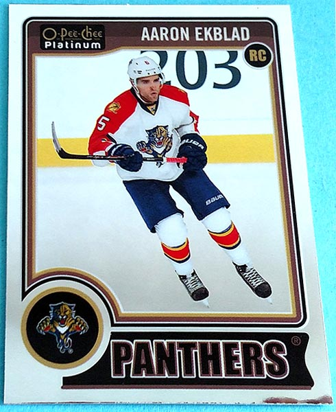 Aaron Ekblad's card from the 2014-15 O-Pee-Chee Platinum set.