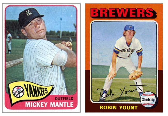 1965 and 1975 Topps Baseball Cards