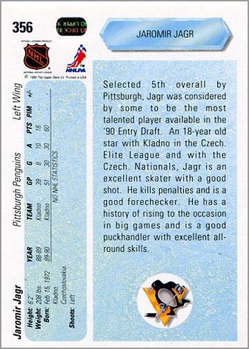 1990-91_Upper_Deck_356_Jaromir_Jagr_back